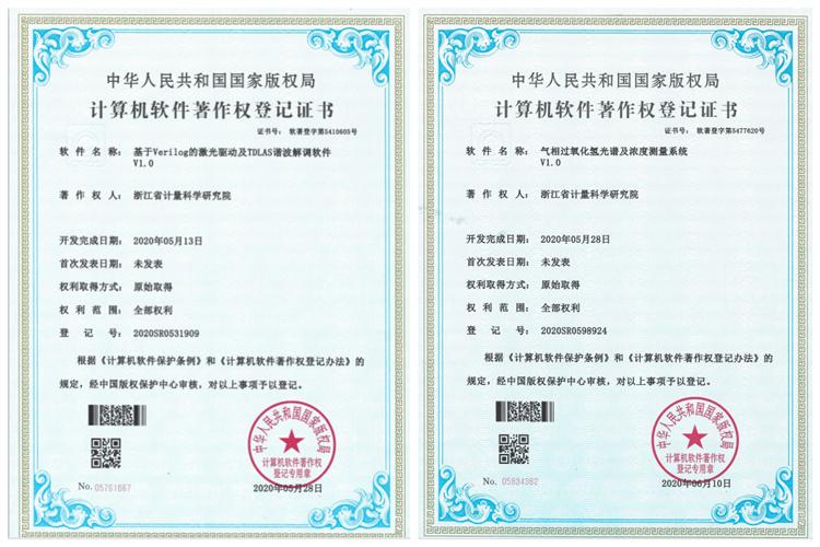 浙江省計量院氣體檢測領域軟件獲版權局軟件著作權證書