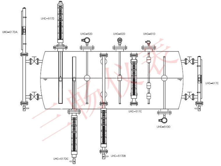 液位计的各种安装方式图